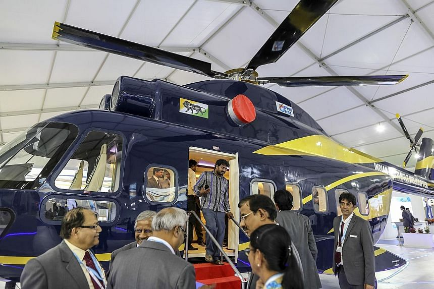 An Indian-made helicopter at the air show in Bengaluru this week.