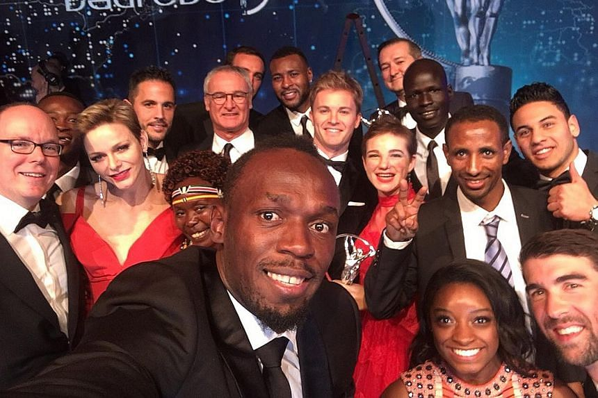 Usain Bolt in an all-star wefie with Monte Carlo royalty and sporting royalty alike at the Laureus World Sports Awards in Monaco on Tuesday. Bolt won his fourth Laureus title, equalling Roger Federer's tally.