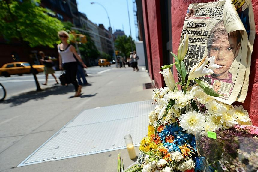 A shrine set up for Etan in 2012 in front of the Manhattan building where Hernandez confessed to have killed the boy in 1979.