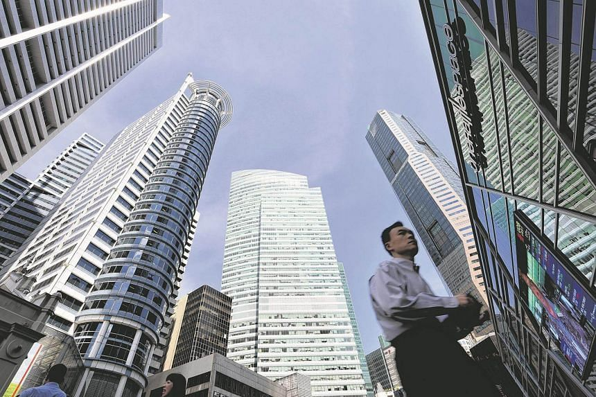 An office worker at Raffles Place in the Central Business District.
