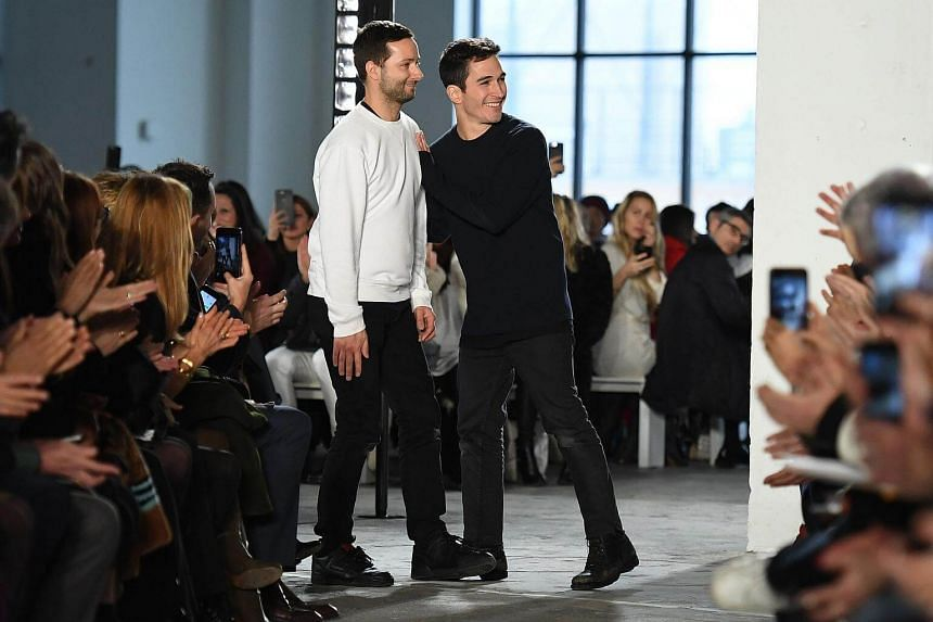 Designers Jack McCollough and Lazaro Hernandez walking the runway for the Proenza Schouler show at New York Fashion Week on Feb 13, 2017, in New York. The pair will be moving their show to Europe.