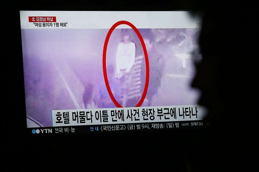 A screengrab of a CCTV allegedly showing one of the assassins of Kim Jong Nam is shown during a news programme on a TV in Pyeongchang, Gangwon-do, South Korea, on Feb 15, 2017.