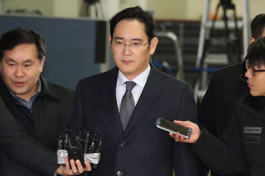 Samsung Group chief Lee Jae Yong outside the special prosecutor's office in Seoul, South Korea, on Feb 14, 2017. Lee appeared at the office again on Thursday (Feb 16) on his way to a court hearing.