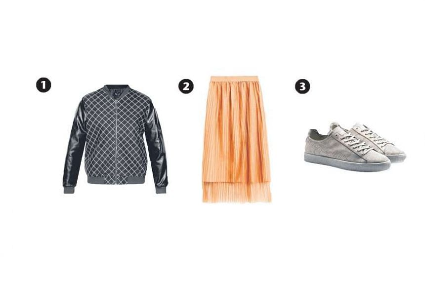 1. Checked bomber jacket, $44.90, from Zalora, 2. Salmon fine pleated tulle skirt, $19.90, from Zara and 3.Puma x STAMPD Clyde shoe, $190, from Puma