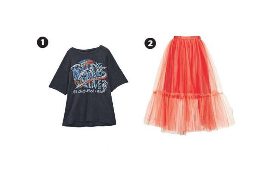 1. Rolling Stones T-shirt, $35.90, from Pul l& Bear and 2. Giant tutu tulle skirt, $149, from Topshop