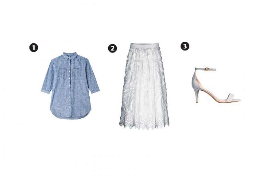 1. Chambray tunic, $20.70, from Muji,  2.White lace skirt, $126.80, from iRoo and 3. Light grey sandal, $39.90, from H&M
