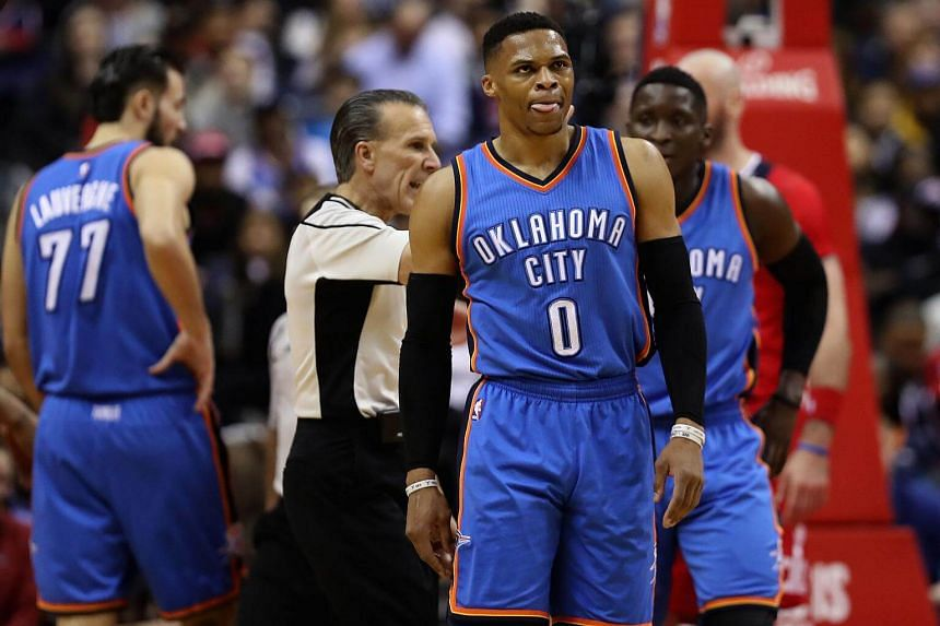 Russell Westbrook #0 of the Oklahoma City Thunder in a game against the Washington Wizards at Verizon Center on Feb 13, 2017, in Washington, DC.