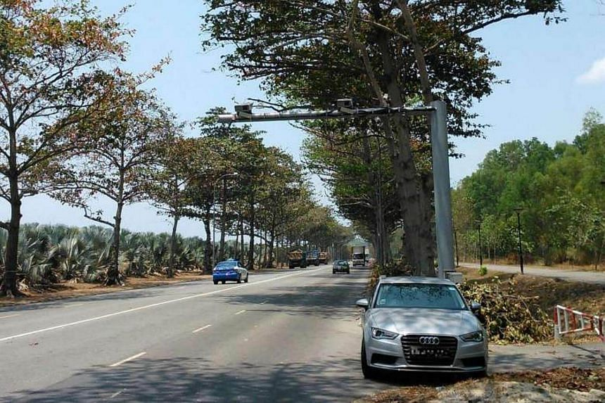 A set of Average Speed Cameras, which are installed on two gantries about 4km apart, deployed along Changi Coastal Road as part of a trial run in 2013.
