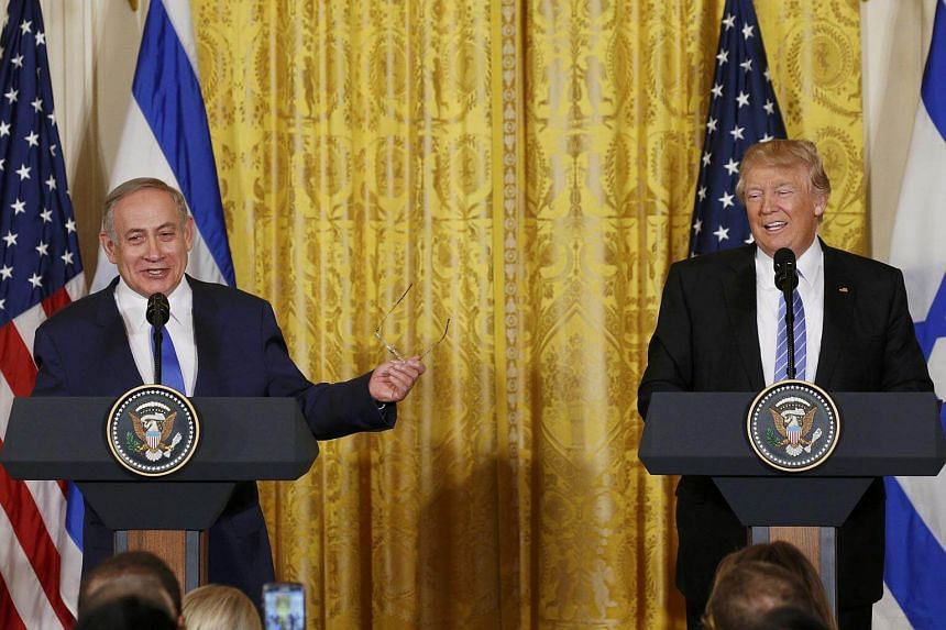 US President Donald Trump (right) with Israeli Prime Minister Benjamin Netanyahu at a joint news conference at the White House in Washington, US, on Feb 15, 2017.