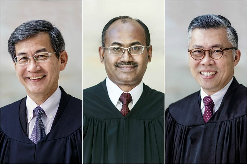 (From left) Current deputy Attorney-General Tan Siong Thye, Judicial Commissioner Kannan Ramesh, and Justice Steven Chong have been appointed as High Court judges.