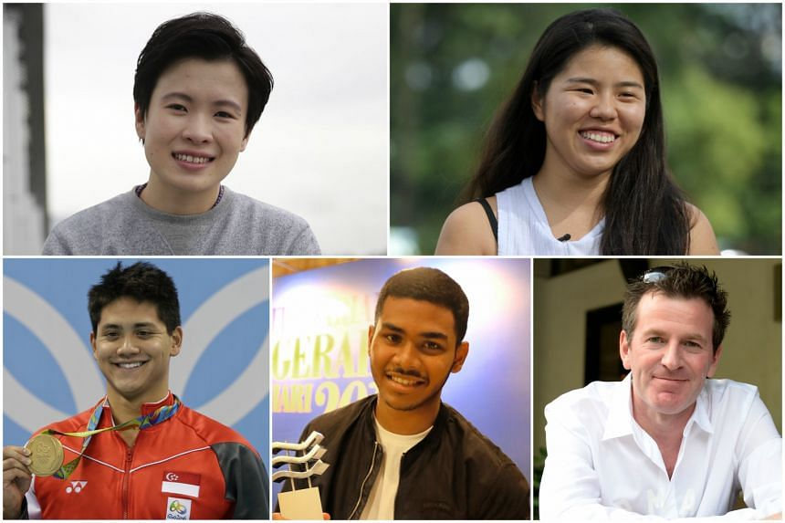 The nominees for The Straits Times Athlete of the Year are (clockwise from top left) New Hui Fen, Yip Pin Xiu, Peter Gilchrist, Sheik Farhan Sheik Alau'ddin and Joseph Schooling.