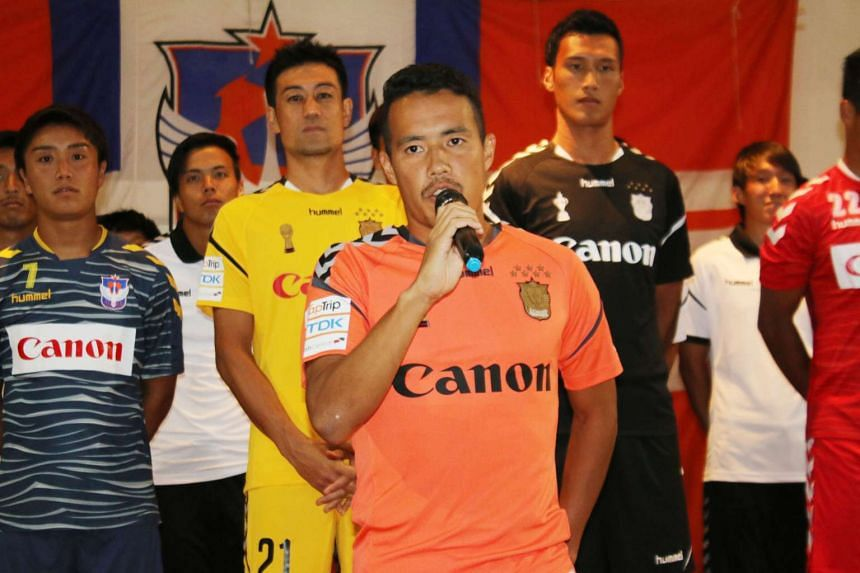 Albirex Niigata's new captain Shuto Inaba delivering a speech at last night's kick-off party at Le Danz Ballroom, where the Japanese developmental S-League side unveiled their new jerseys for this season. Albirex, who performed an unprecedented clean