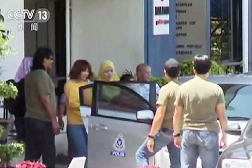 A woman (second from left) suspected of involvement in the apparent assassination of Kim Jong Nam, the half-brother of North Korean leader Kim Jong Un, on Feb 16, 2017.