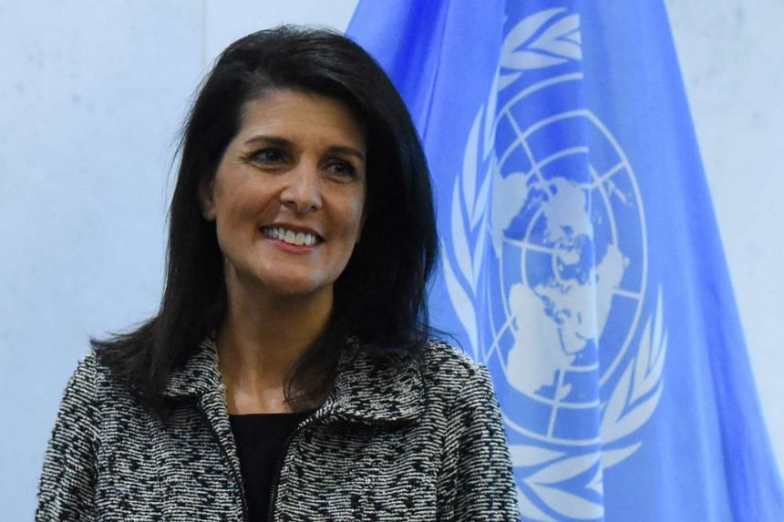 """Anybody that wants to say the United States does not support the two-state solution – that would be an error,"" said Haley (above)."
