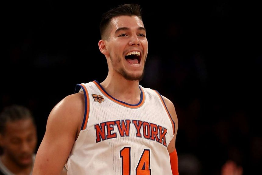 Willy Hernangomez of the New York Knicks celebrating his dunk in a game against the San Antonio Spurs at Madison Square Garden on Feb 12, 2017, in New York City.