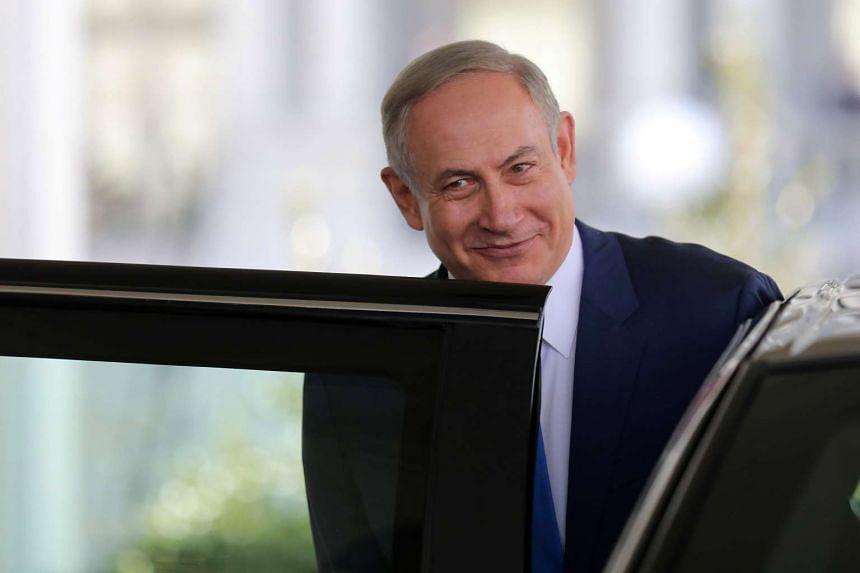Israeli Prime Minister Benjamin Netanyahu leaves the White House, Feb 15, 2017.