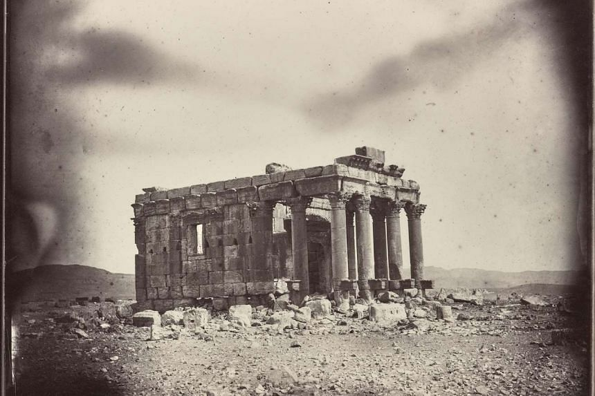 The Temple of Baalshamin, a building in the ancient city of Palmyra, circa 1864.