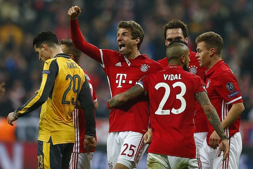 Thomas Muller putting the icing on the cake with his 88th minute goal as Bayern Munich ran riot, hammering Arsenal 5-1 at home. Bayern will look to finish the job in the second leg of their last-16 Champions League tie