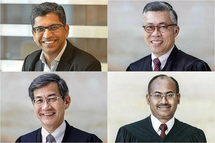 (Clockwise from top left) Senior Counsel Hri Kumar Nair, Justice Steven Chong Horng Siong, Judicial Commissioner Kannan Ramesh and Mr Tan Siong Thye.