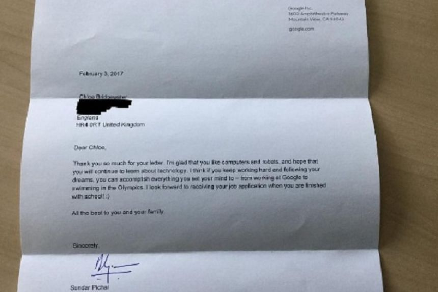 The letter from Google Chief Executive Officer (CEO) Sundar Pichai to seven-year-old Chloe Bridgewater.