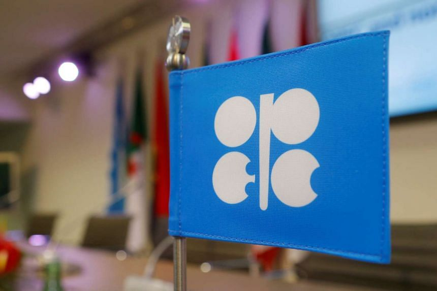 A flag with the Organization of the Petroleum Exporting Countries (OPEC) logo is seen before a news conference at OPEC's headquarters in Vienna, Austria, on Dec 10, 2016.