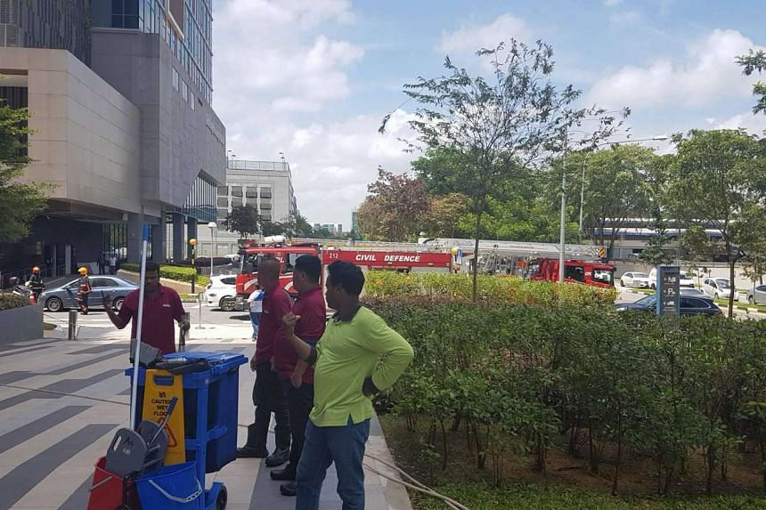 A vehicle caught fire at a carpark in Paya Lebar Square on Friday (Feb 17) afternoon.