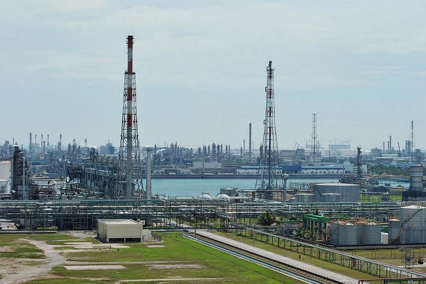 Petrochemical refineries, air liquification plants and other heavy industrial concerns at the Singapore Petrochemical Complex on the Ayer Merbau portion of Jurong Island.