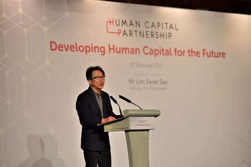 Minister for Manpower Lim Swee Say delivers the keynote speech at the first Human Capital Partnership Networking Event.