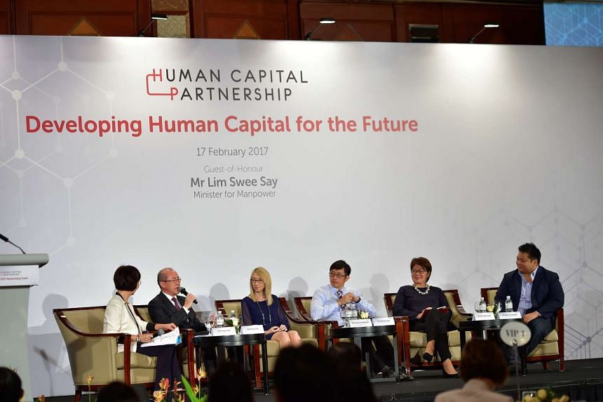 "Minister of State for Manpower Teo Ser Luck  and other business leaders sharing insights on ""Developing Human Capital for the Future"" at the first Human Capital Partnership Networking Event."