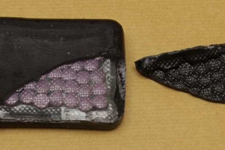 Tablets suspected to be controlled drugs, concealed within a wrapping made to appear like a bar of soap, recovered in a Central Narcotics Bureau operation on  Feb 16, 2017.