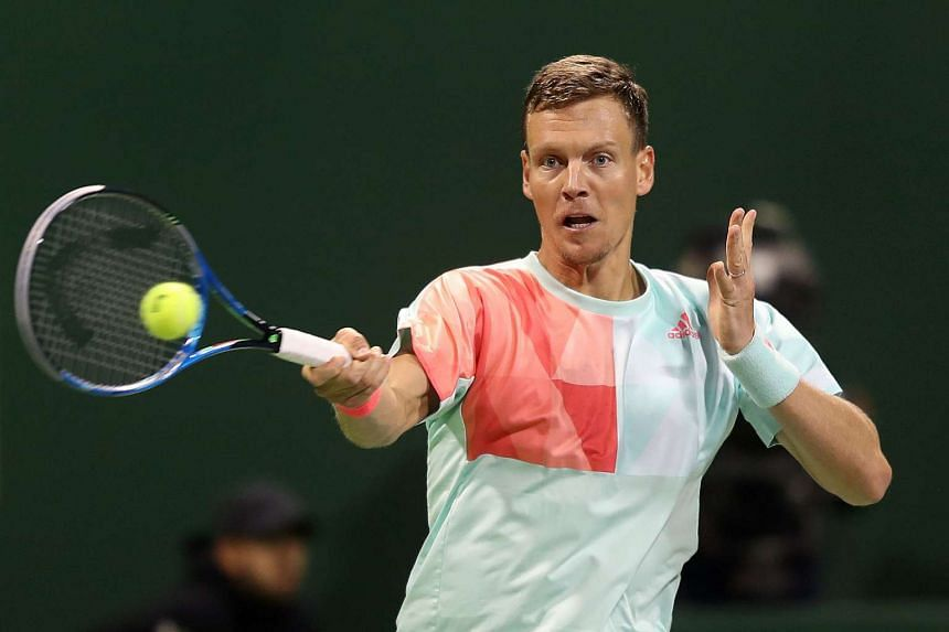 Berdych (above, in a file photo) beat defending champion Martin Klizan 6-3, 6-3.