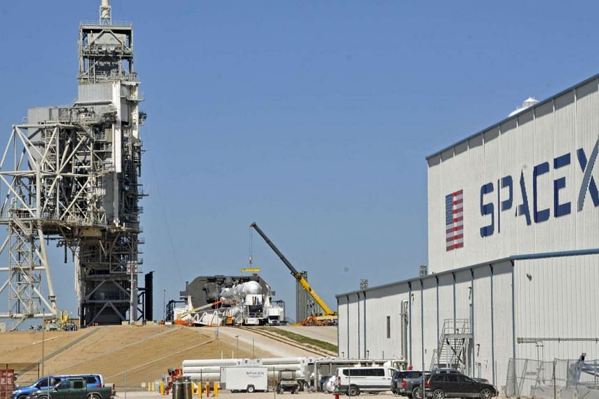 Space X's Falcon 9 rocket is prepared for a launch on Feb 17, 2017, at the Kennedy Space Centre.