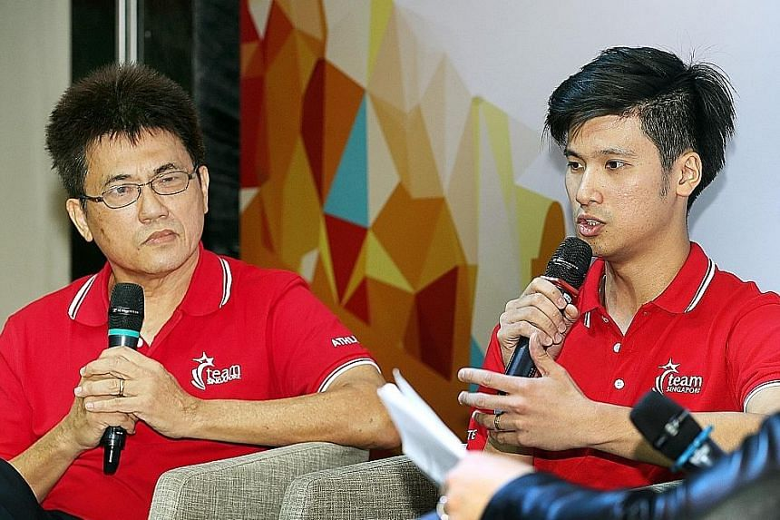 Former shuttler Derek Wong finds the scheme's flexible arrangements useful, as they help athletes adjust to life after competition. With him is his father Wong Shoon Keat, the 1983 SEA Games singles champion.