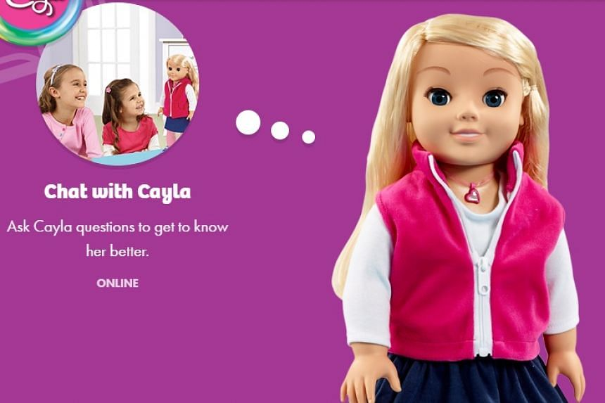 The doll in a screenshot from the My Friend Cayla website.