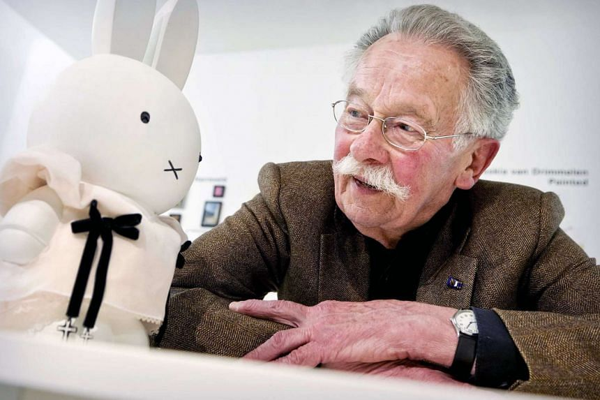Dutch author and illustrator Dick Bruna poses next to Nijntje at the Dick Bruna Huis in Utrecht, Netherlands on March 31, 2011.