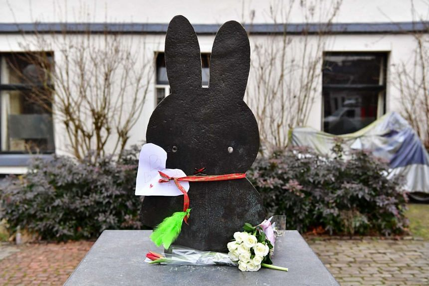 Flowers placed at a Miffy statue on Nijntje Pleintje square in Utrecht, Netherlands, on Feb 17, 2017.