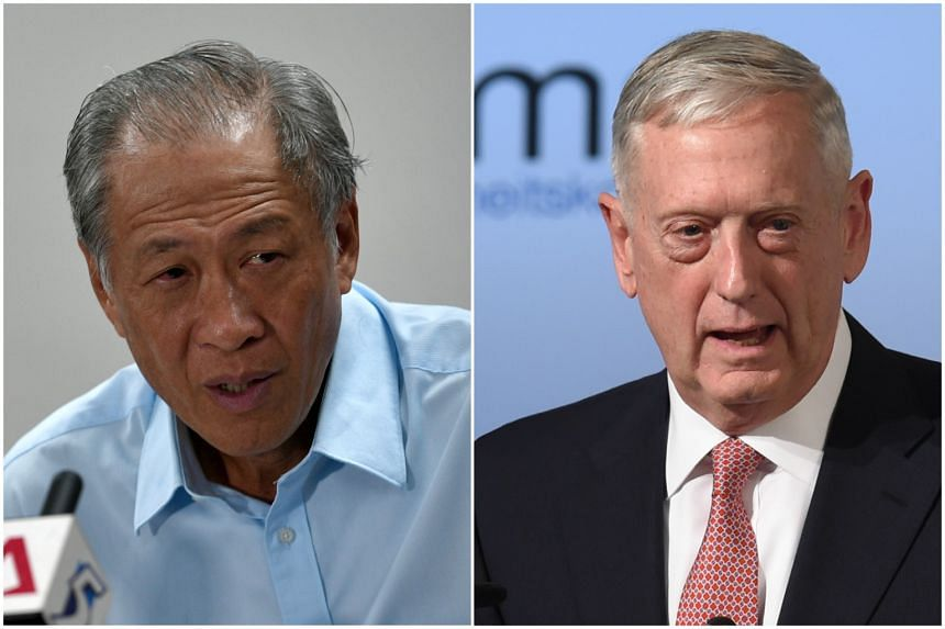 Defence Minister Ng Eng Hen (left) had his first meeting with United States Defence Secretary James Mattis on Saturday (Feb 18), on the sidelines of the Munich Security Conference.