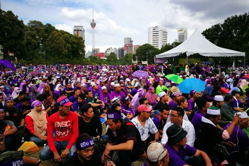 An opposition-led rally at Padang Merbok on Feb 18, 2017.
