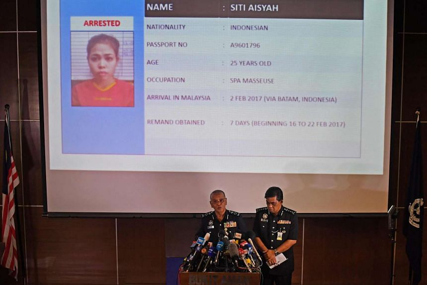 Royal Malaysian Police deputy inspector-general Noor Rashid Ibrahim (centre, left) speaks about detained Indonesian suspect Siti Aisyah (top) during a press conference at the Bukit Aman national police headquarters in Kuala Lumpur on Feb 19, 2017.
