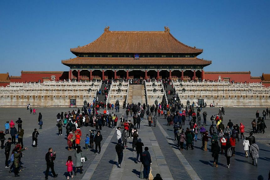 Tourists visiting the Forbidden City, or Palace Museum, in Beijing, China, on Feb 9, 2017.