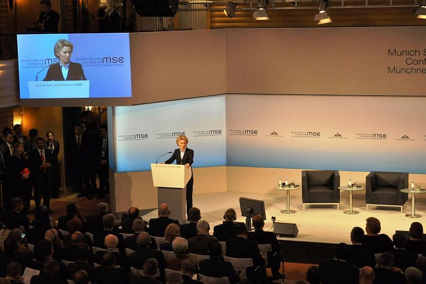 German Minister of Defence Ursula von der Leyen giving the opening statement at the 53rd Munich Security Conference.