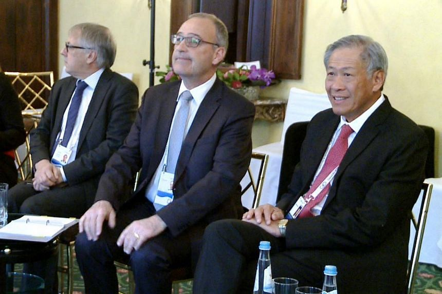 Defence Minister Ng Eng Hen with Swiss Head, Federal Department of Defence, Civil Protection and Sport Guy Parmelin.