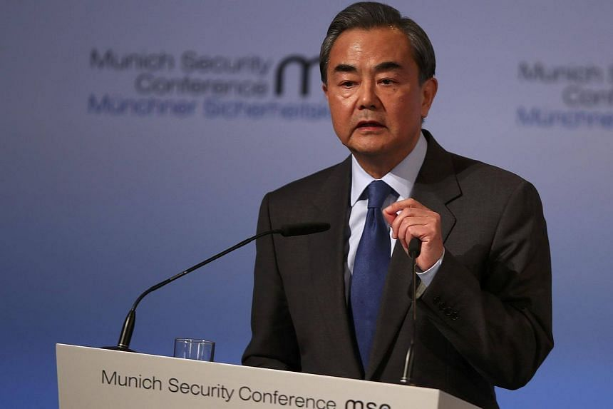 Chinese Foreign Minister Wang Yi speaks at the 53rd Munich Security Conference in Munich, Germany, on Feb 17, 2017.