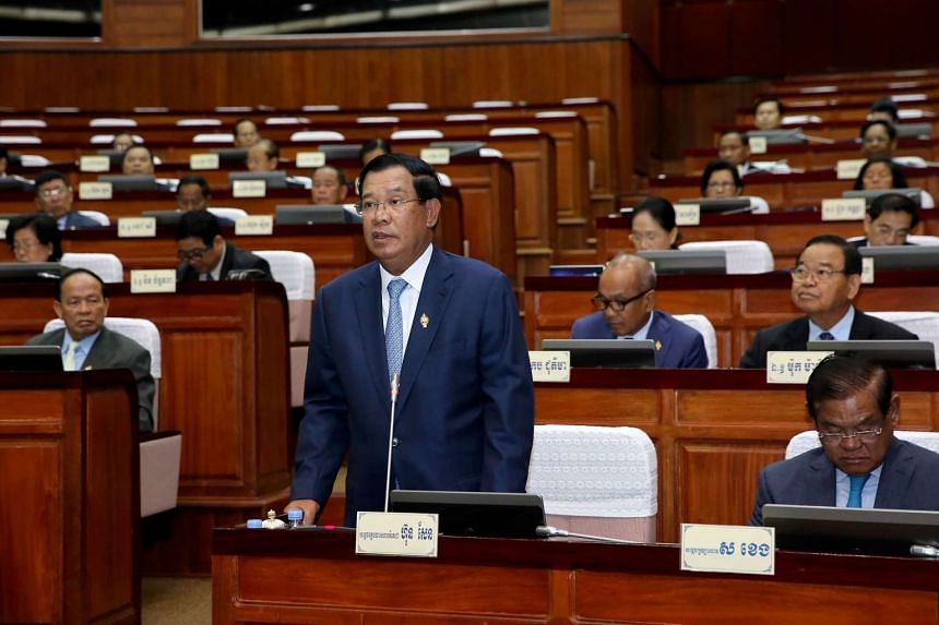 Cambodian Prime Minister Hun Sen speaking in Parliament at the National Assembly building on Jan 31, 2017.