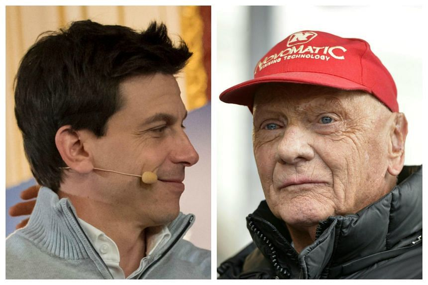 Mercedes team bosses and shareholders Toto Wolff (left) and Niki Lauda have agreed new contracts to the end of 2020.
