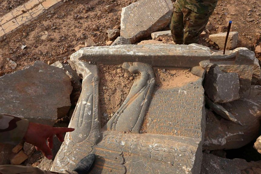 Destruction caused by ISIS at the archaeological site of Nimrud, some 30 kilometres south of Mosul in the Nineveh province, a few days after Iraqi forces retook the ancient city.