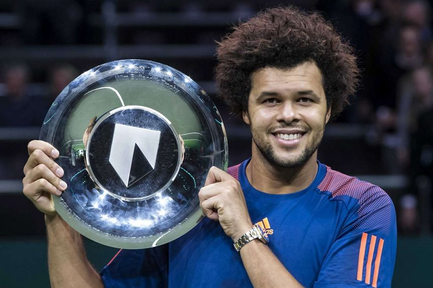Jo-Wilfried Tsonga of France after winning the final match of the ABN Amro World Tennis Tournament against David Goffin of Belgium in Rotterdam, Netherlands, on Feb 19, 2017.