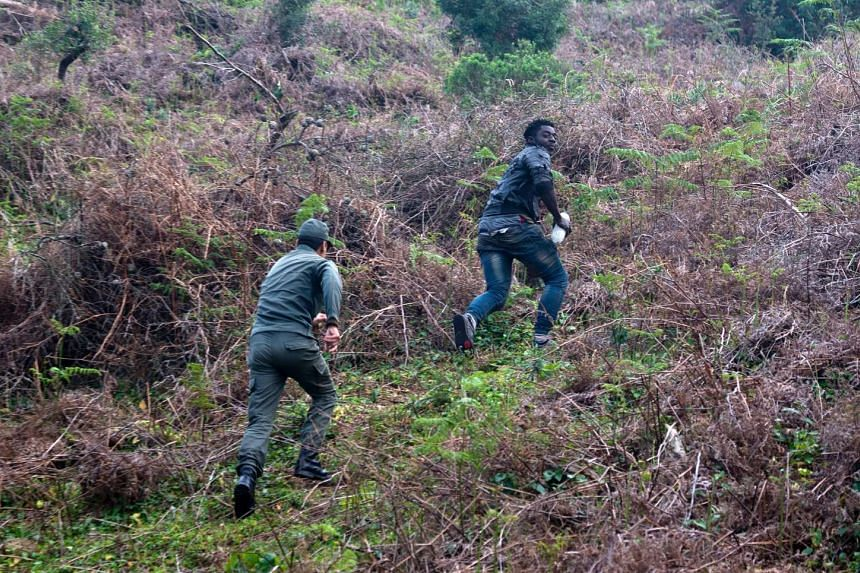 A Moroccan security officer chasing after a migrant who forced his way through a fence between Morocco and Ceuta on Feb 18, 2017.