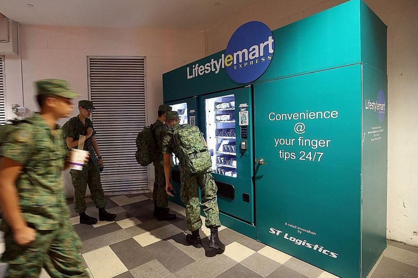Full-time national servicemen (NSFs) in need of ziplock bags, batteries, powder, socks, insect repellent, and even singlets and shorts, can now find them in LifestyleMart Express vending machines at White Sands Shopping Mall, where many NSFs gather b