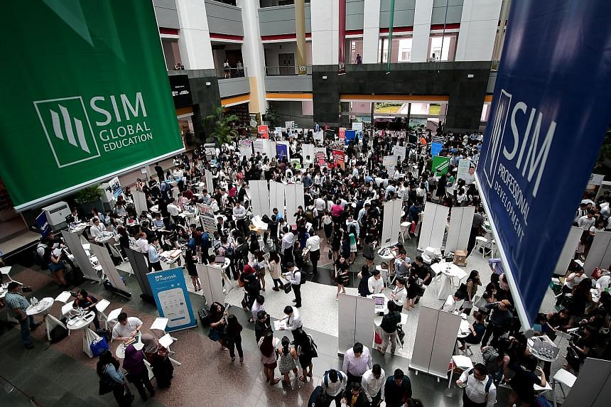 SIM's private school arm had 129 employers take part in its career fair held on Friday - almost double the number last year.